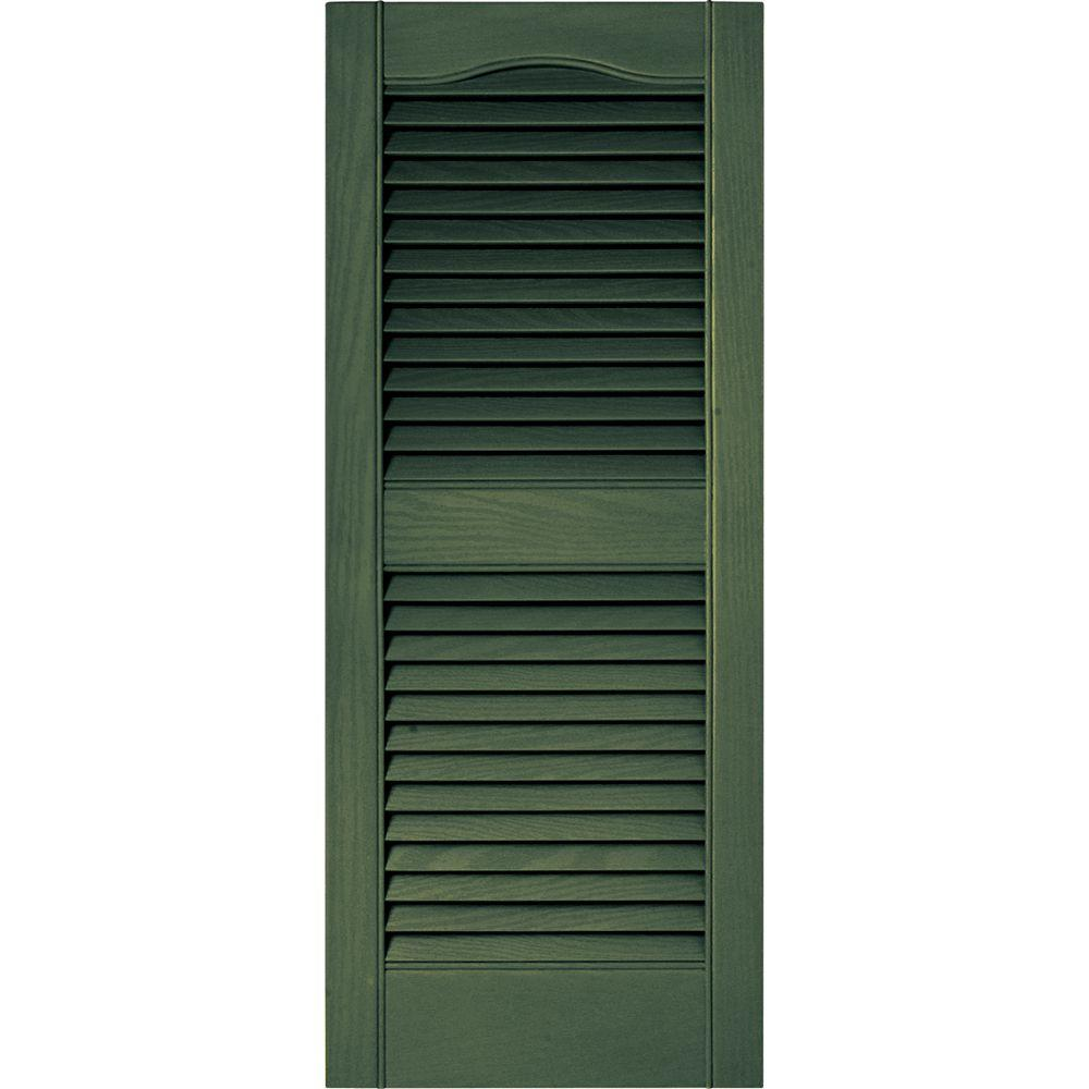 Builders Edge 15 in. x 36 in. Louvered Vinyl Exterior Shutters Pair in #283 Moss