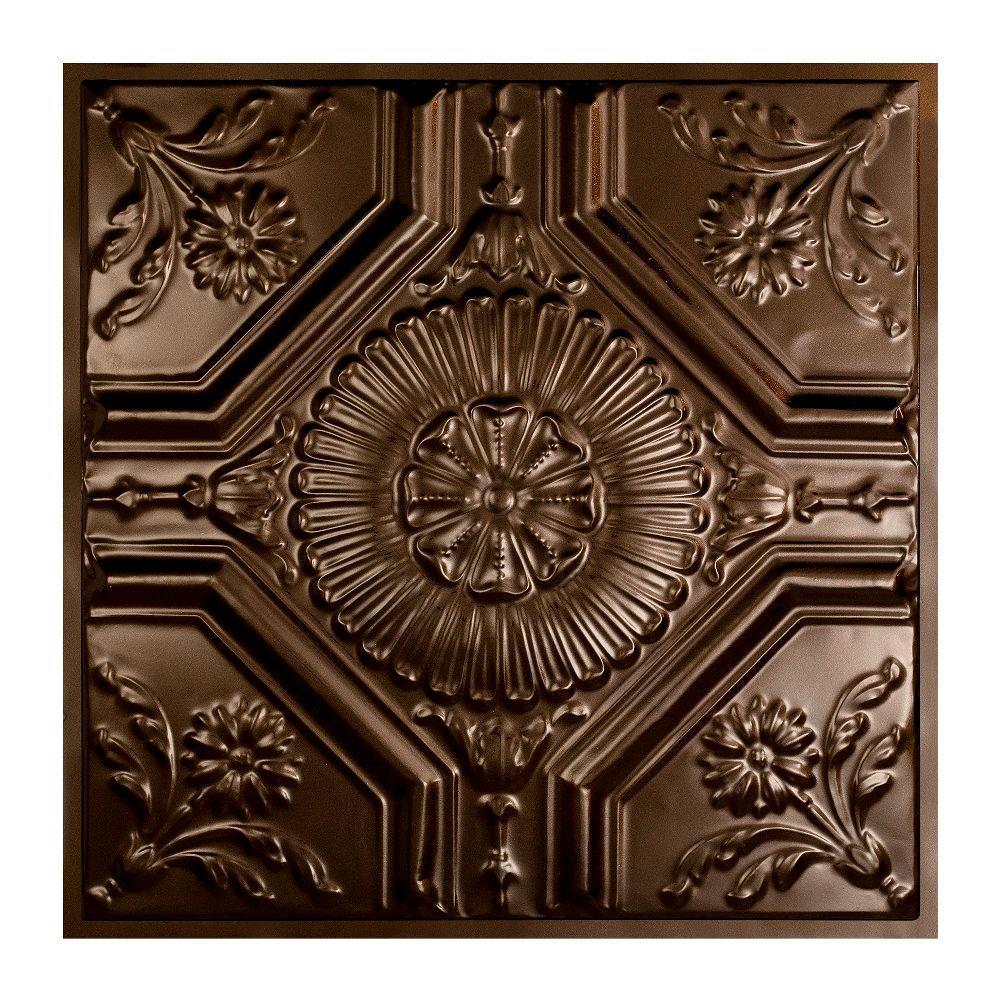 Rochester 2 ft. x 2 ft. Lay-in Tin Ceiling Tile in Bronze Burst