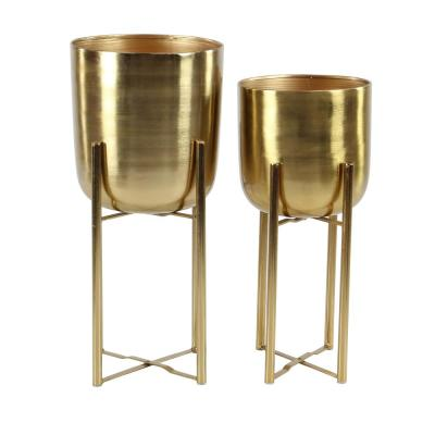 11 in. x 22 in. and 10 in. x 19 in. Round Indoor/Outdoor Iron Metal Planters in Gold Stands (Set of 2)