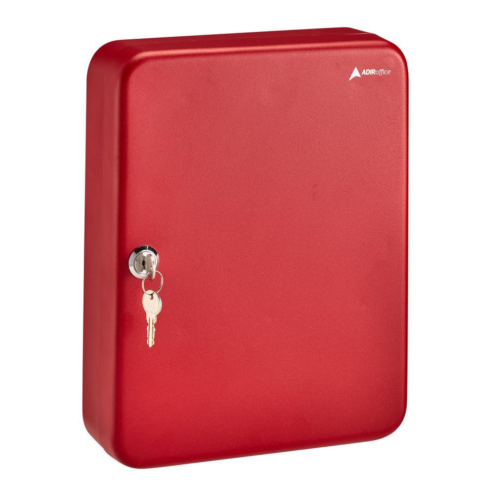 AdirOffice 60-Key Steel Heavy-Duty Cabinet with Key Lock, Red