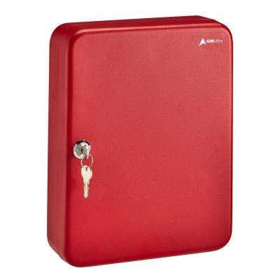60-Key Steel Heavy-Duty Cabinet with Key Lock, Red