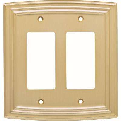 Emery Classical Double Decorator Wall Plate, Brushed Brass
