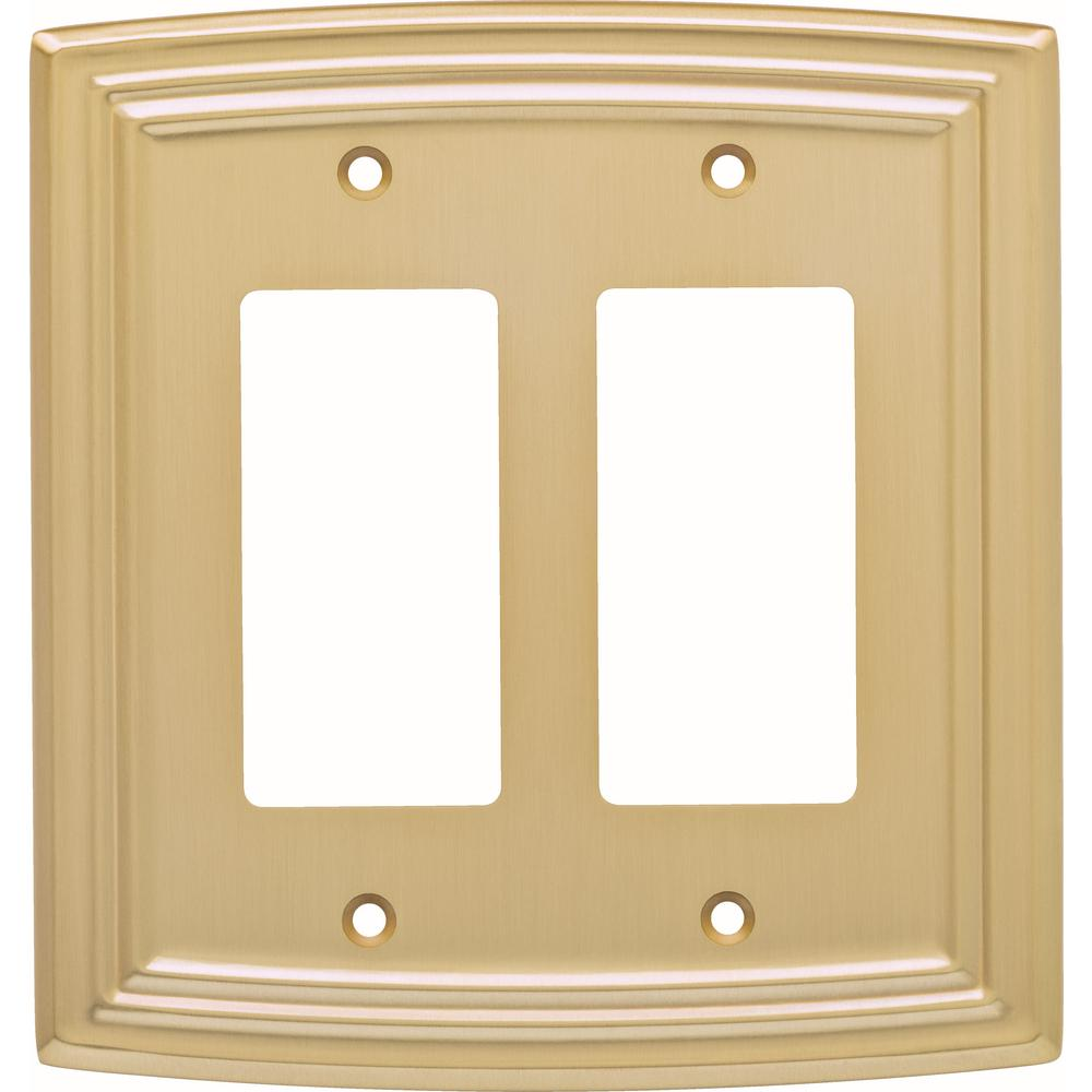Liberty Emery Decorative Double Rocker Switch Cover Brushed Br