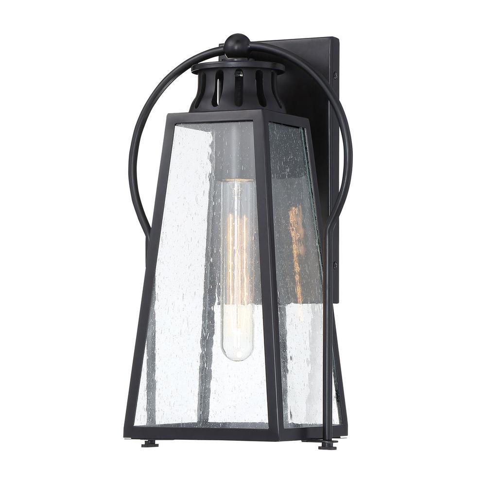 Halder 1-Light Sand Black Outdoor Lantern Light Sconce with Seeded Glass
