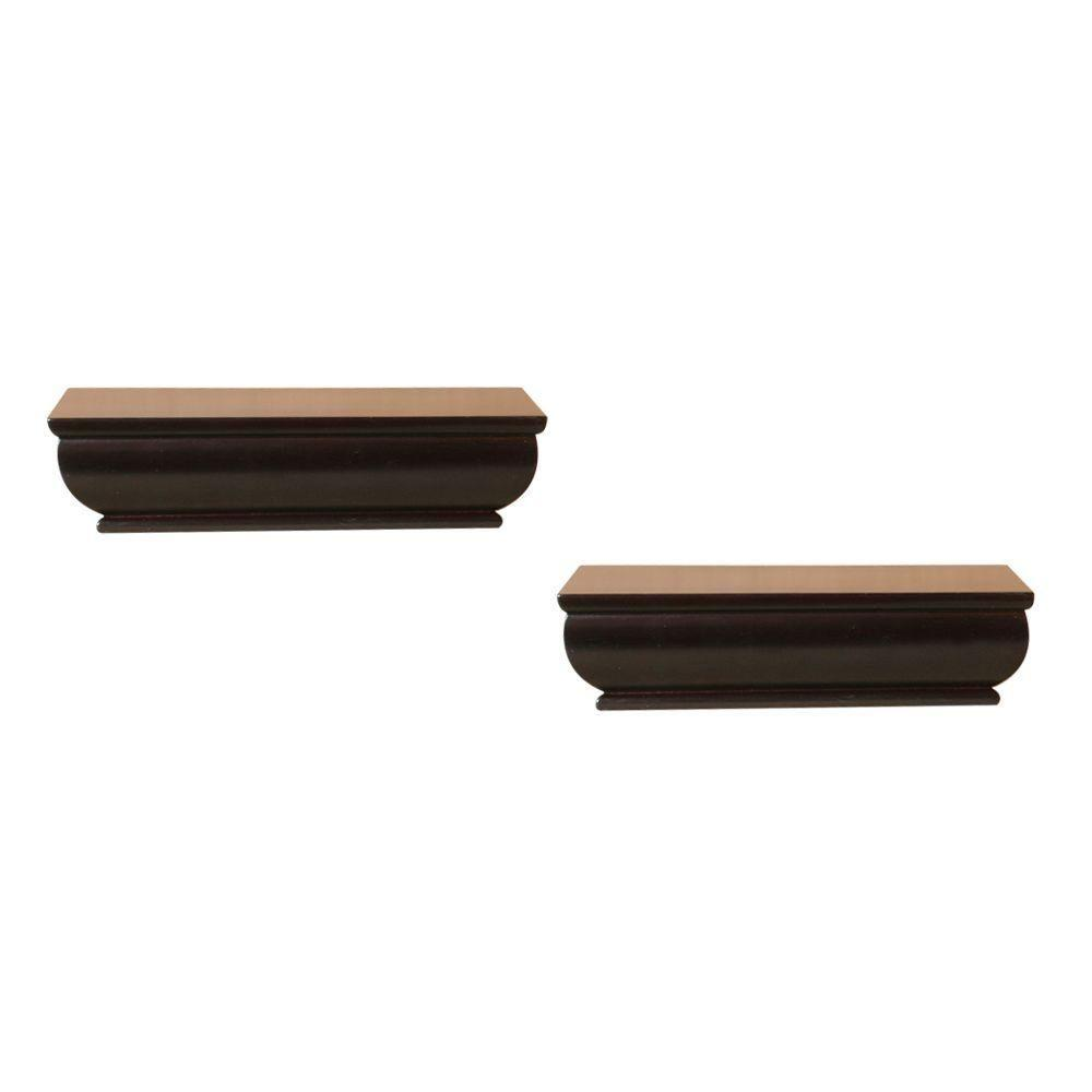 2-Shelf 8 in. L x 4 in. W Profile Espresso Ledge