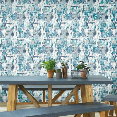 28.18 sq. ft. Blue Aztec Peel and Stick Wallpaper