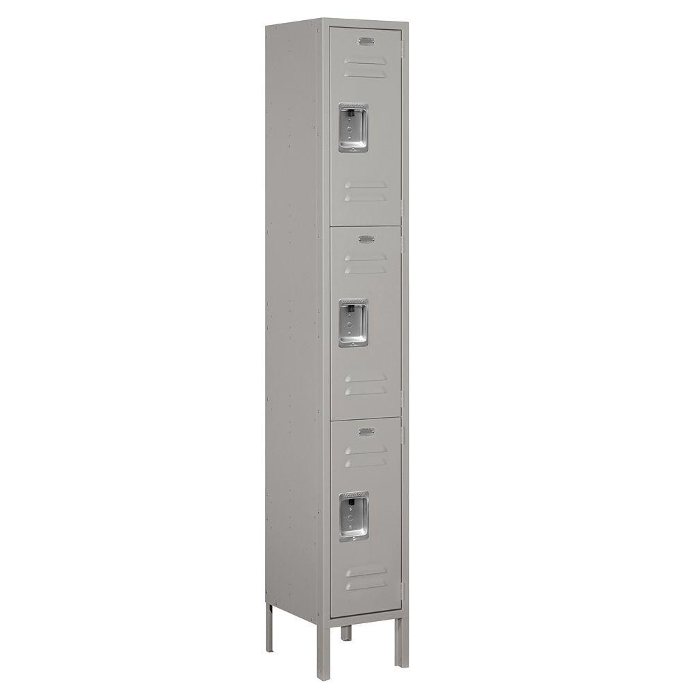 Salsbury Industries 63000 Series 12 in. W x 78 in. H x 12 in. D - Triple Tier Metal Locker Unassembled in Gray