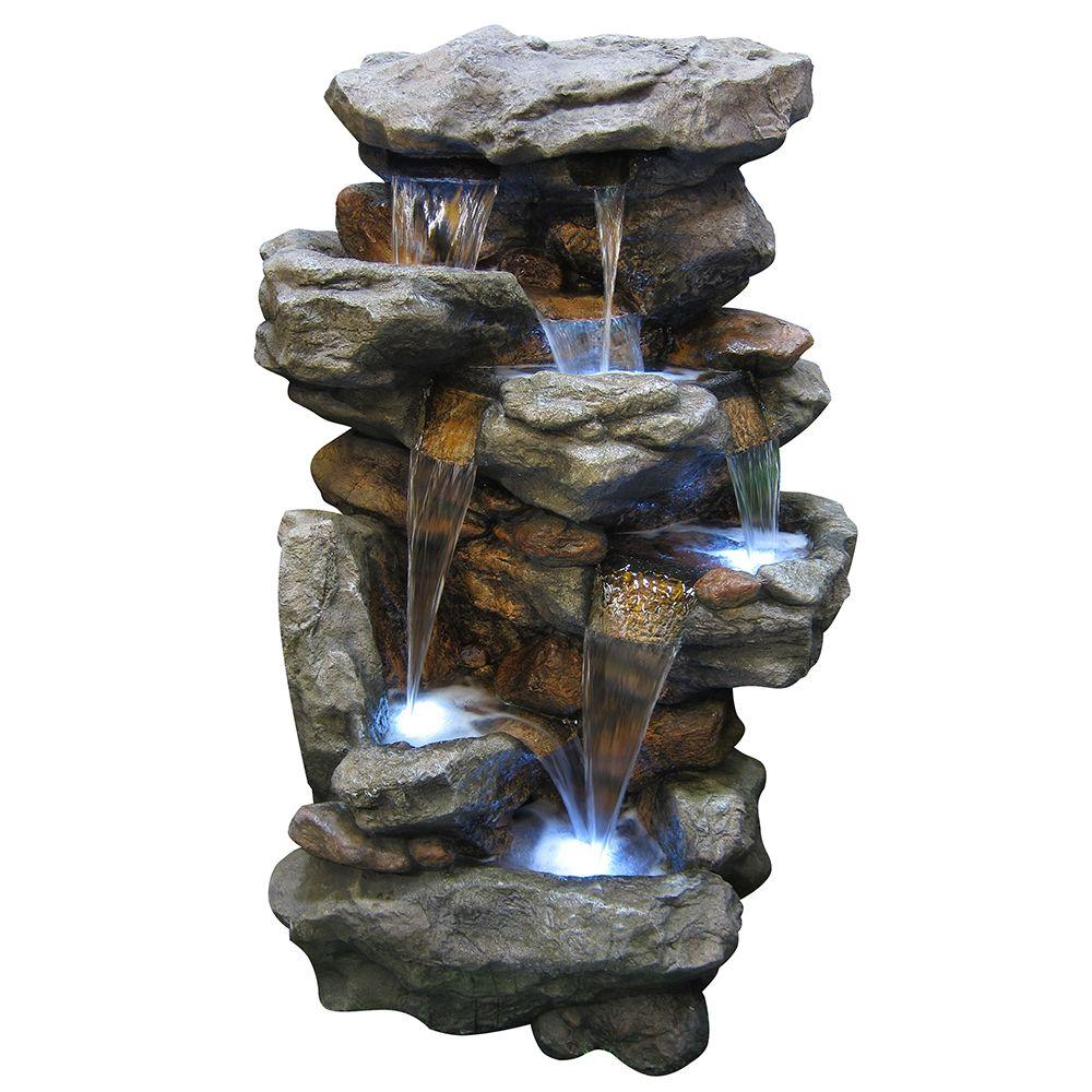 Outdoor Water Fountains Home Depot: Alpine Corporation 5-Tier Rainforest Rock Water Fountain