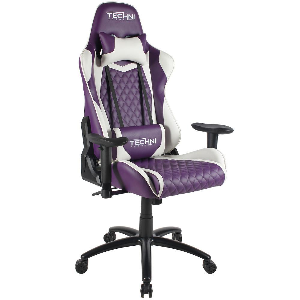 Techni Sport Purple Ergonomic High Back Racer Style Video