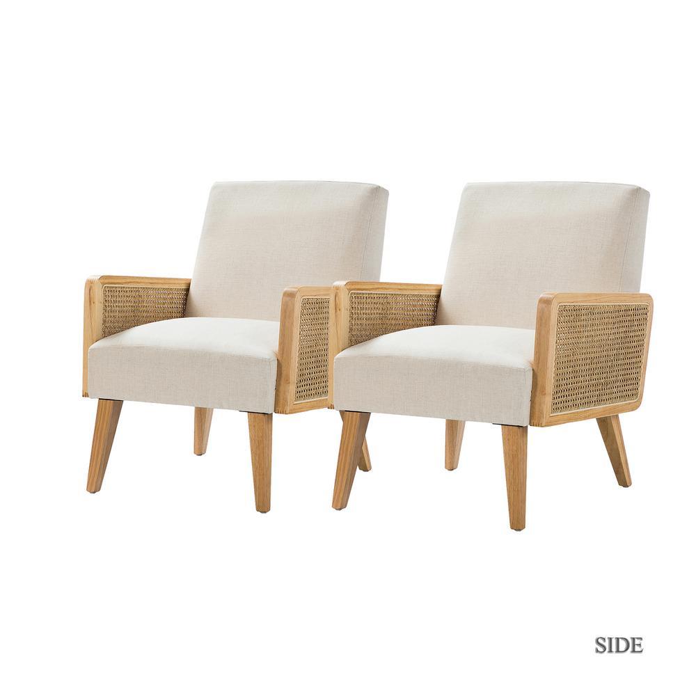 Delphine Linen Cane Accent Chair set of 2