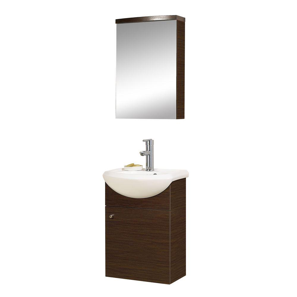 DreamLine 16.75 in. Vanity in Wenge with Porcelain Vanity Top in White and Medicine Cabinet-DISCONTINUED