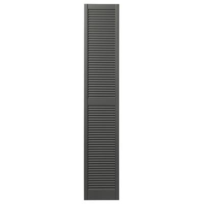15 in. x 81 in. Open Louvered Polypropylene Shutters Pair in Spanish Moss
