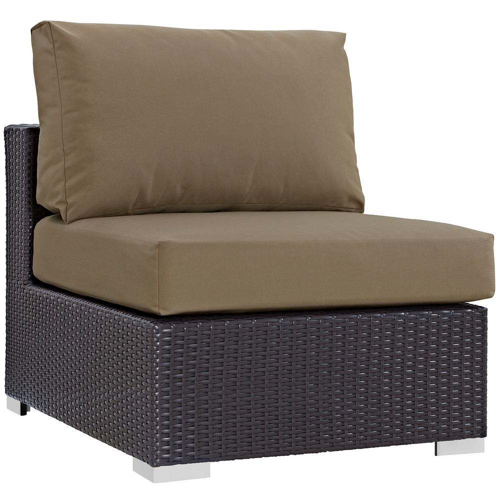 MODWAY Convene Patio Wicker Armless Middle Outdoor Sectional Chair in Espresso with Mocha Cushions