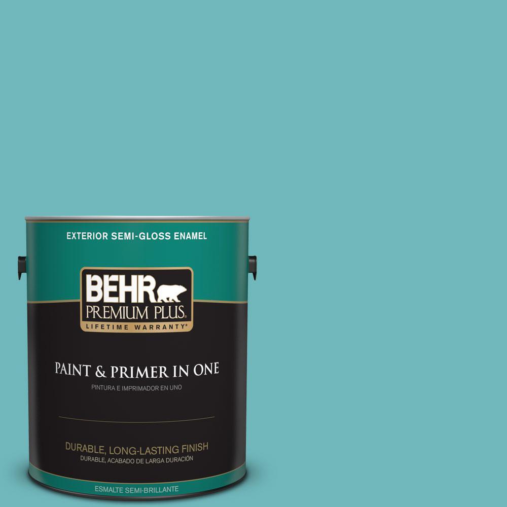 BEHR Premium Plus 1-gal. #510D-5 Surfer Semi-Gloss Enamel Exterior Paint