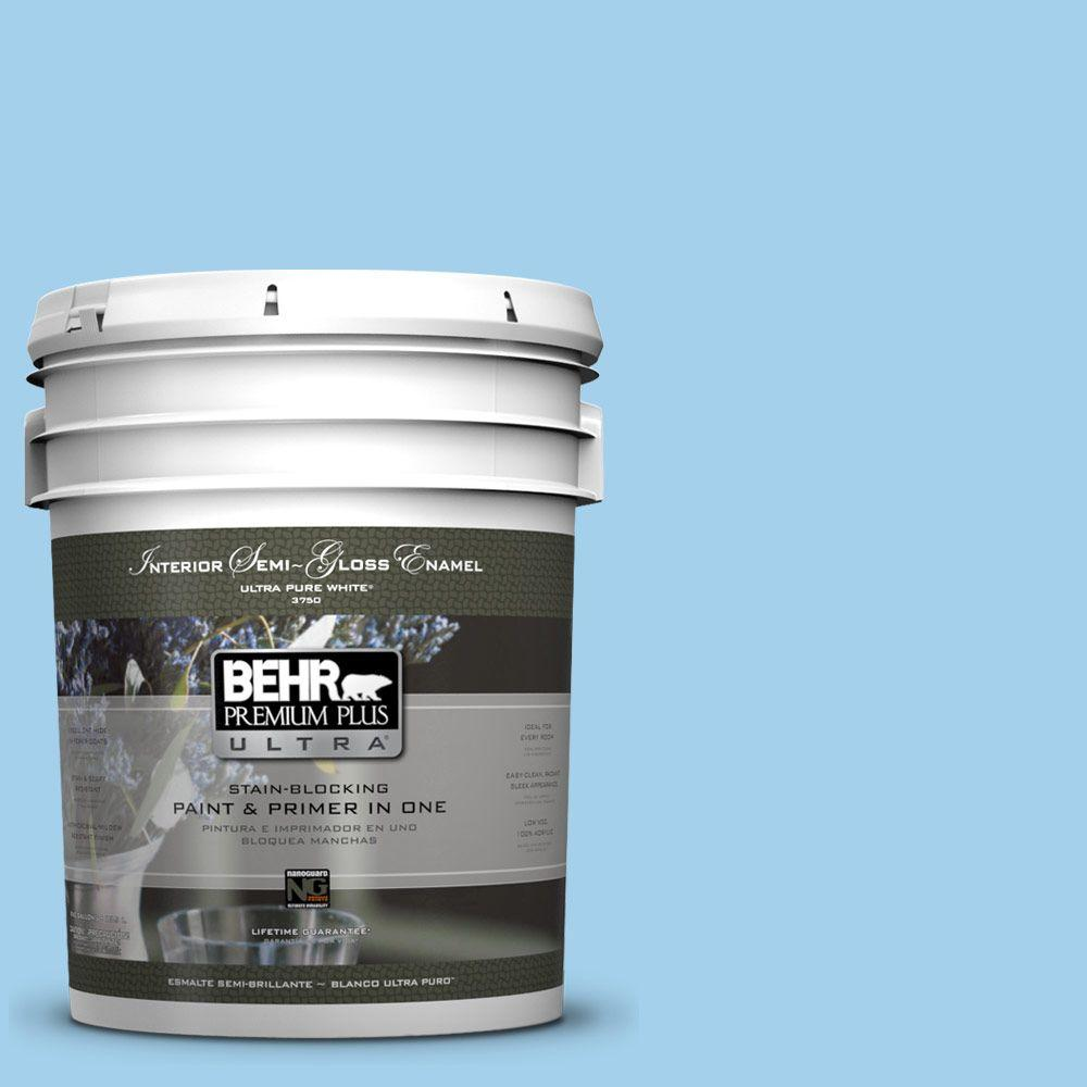 5 gal. #550A-3 Little Pond Semi-Gloss Enamel Interior Paint and Primer
