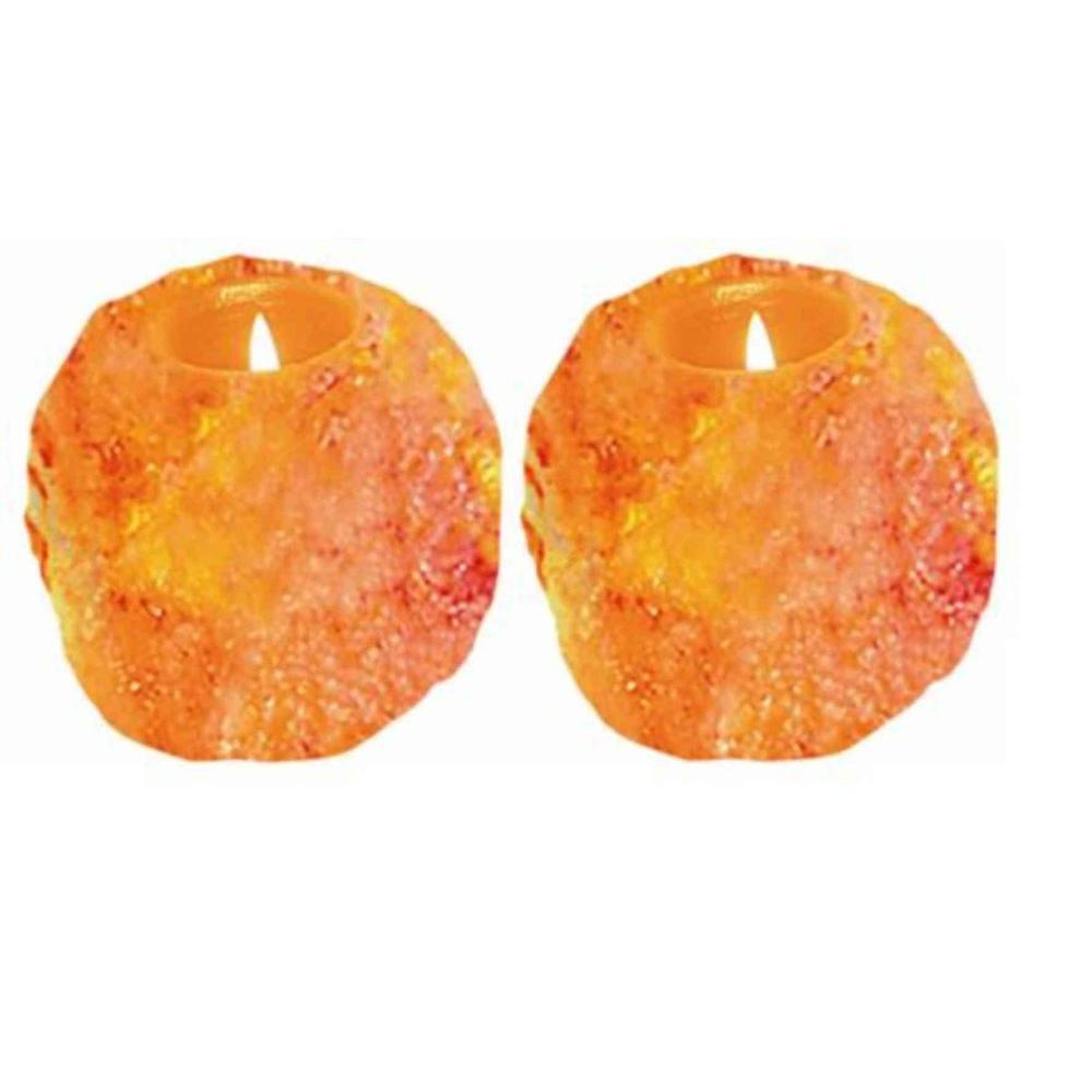 WBM Himalayan Ionic Crystal Natural Candle Holder Set of 2- 1 Hole (2-3lbs)