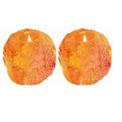 Ionic Crystal Natural Candle Holder Set of 2- 1 Hole (2-3lbs)