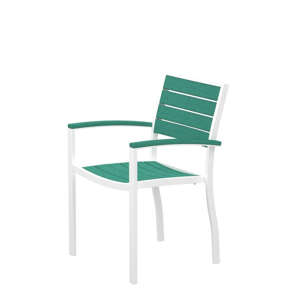 POLYWOOD Euro Gloss White Patio Dining Arm Chair with Aruba Slats-DISCONTINUED