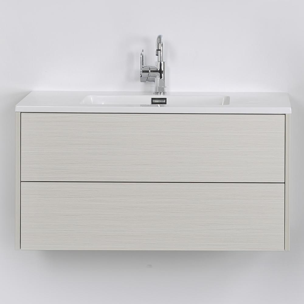 Streamline 39.4 in. W x 19.3 in. H Bath Vanity in Gray with Resin Vanity Top in White with White Basin
