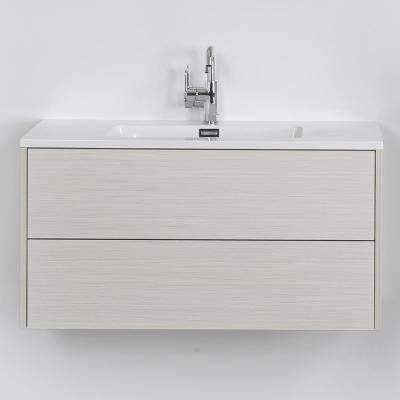 39.4 in. W x 19.3 in. H Bath Vanity in Gray with Resin Vanity Top in White with White Basin