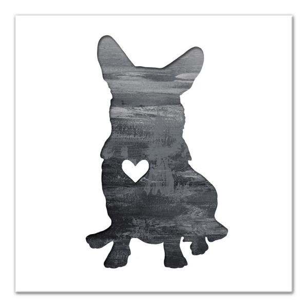 fc5e57b8a139f DESIGNS DIRECT 16 in. x 16 in.   Ink Silhouette Corgi   Printed ...