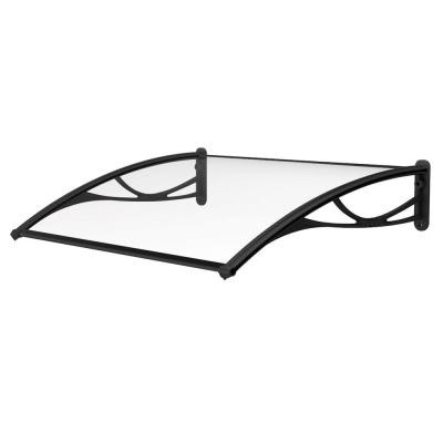 PN Series Solid Polycarbonate Sheet Door Awning (47 in. W x 31 in. D) in Black Bracket