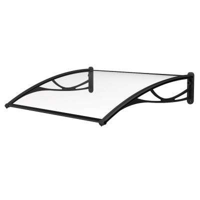 PN Series Solid Polycarbonate Sheet Door Awning (55 in. W x 31 in. D) in Black Bracket
