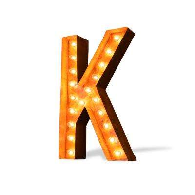 Modern American 24 in. High Rusted Steel Alphabet Letter K Plug-In Marquee Lights