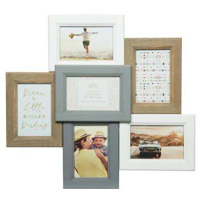 Collage 4 in. x 6 in. White and Gray Picture Frame
