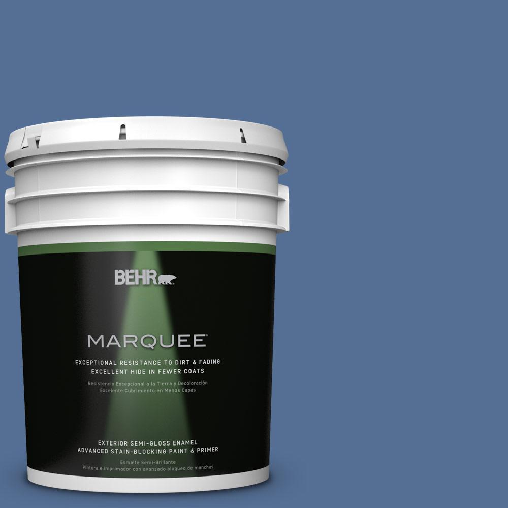 BEHR MARQUEE 5-gal. #M530-6 Charter Blue Semi-Gloss Enamel Exterior Paint