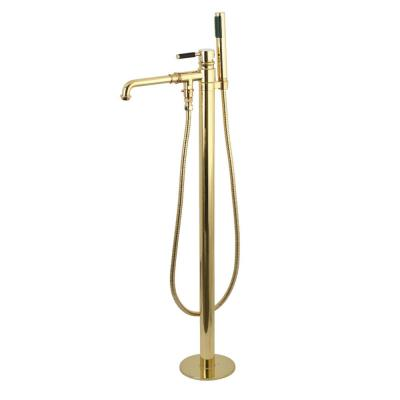 Modern Single-Handle Floor-Mount Roman Tub Faucet with Hand Shower in Polished Brass