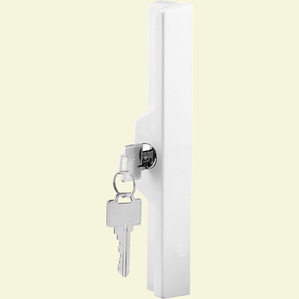 Prime Line White Sliding Door Outside Pull With Key