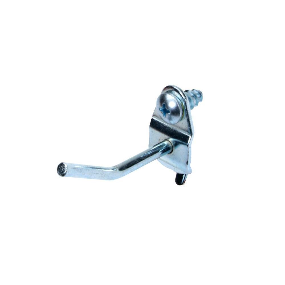 1 in. Single Rod 30 Degree Bend 3/16 in. Dia Zinc Plated Steel Pegboard Hook (10-Pack)