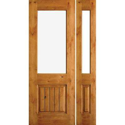 50 in. x 96 in. Rustic Knotty Alder Half Lite Unfinished Left-Hand Inswing Prehung Front Door with Right Sidelite