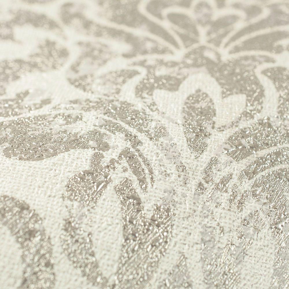 Opal Damask White and Gold Wallpaper Sample