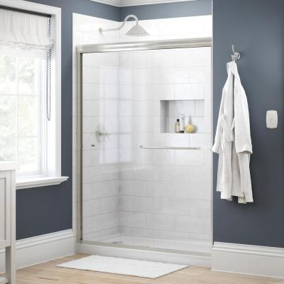 Simplicity 60 in. x 70 in. Semi-Frameless Traditional Sliding Shower Door in Nickel with Clear Glass