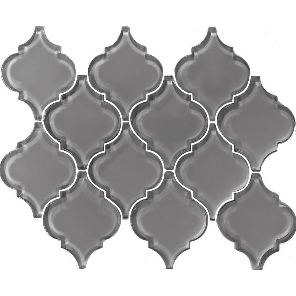 ABOLOS Metro Arabesque Pebble Gray 12.25 in. x 15.63 in. x 7.94 mm Glass Mosaic Tile