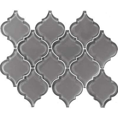Metro Arabesque Pebble Gray 12.25 in. x 15.63 in. x 7.94 mm Glass Mosaic Tile