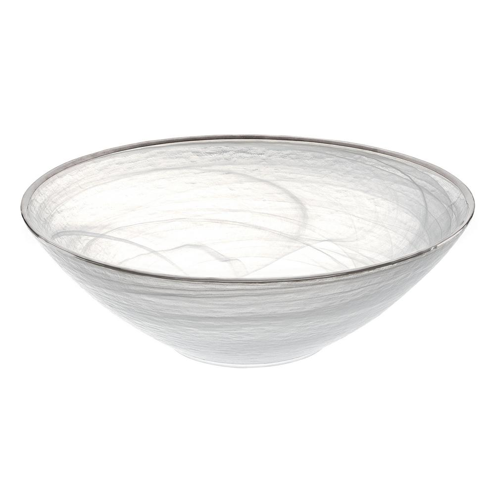12 in. Dia Alabaster Bowl in White and Silver