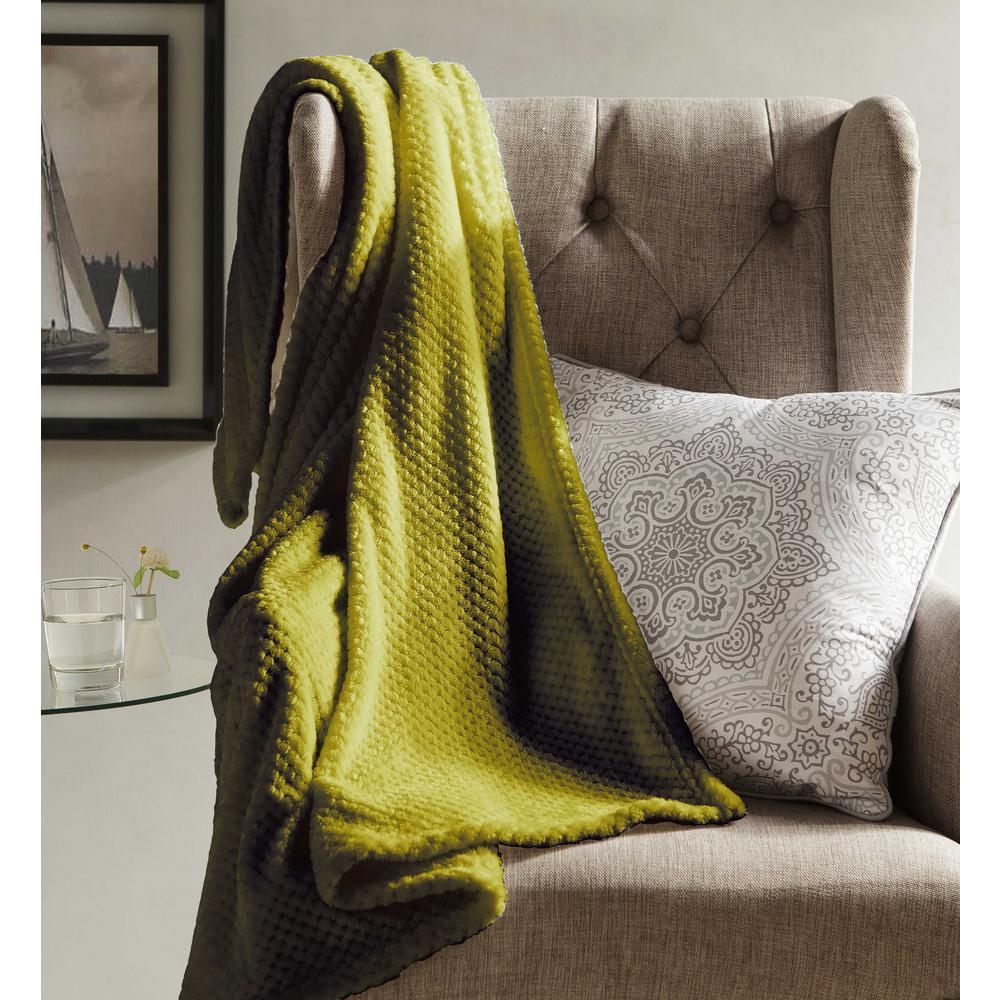 Myrcella Yellow Green Textured Fleece Throw
