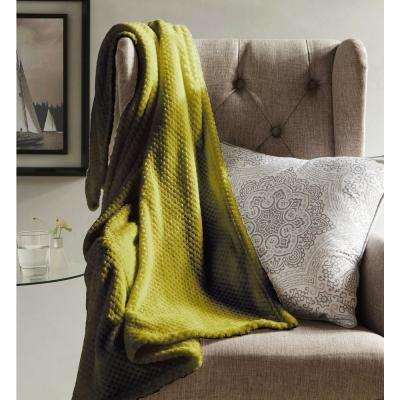 Myrcella Yellow Green Textured Fleece Throw