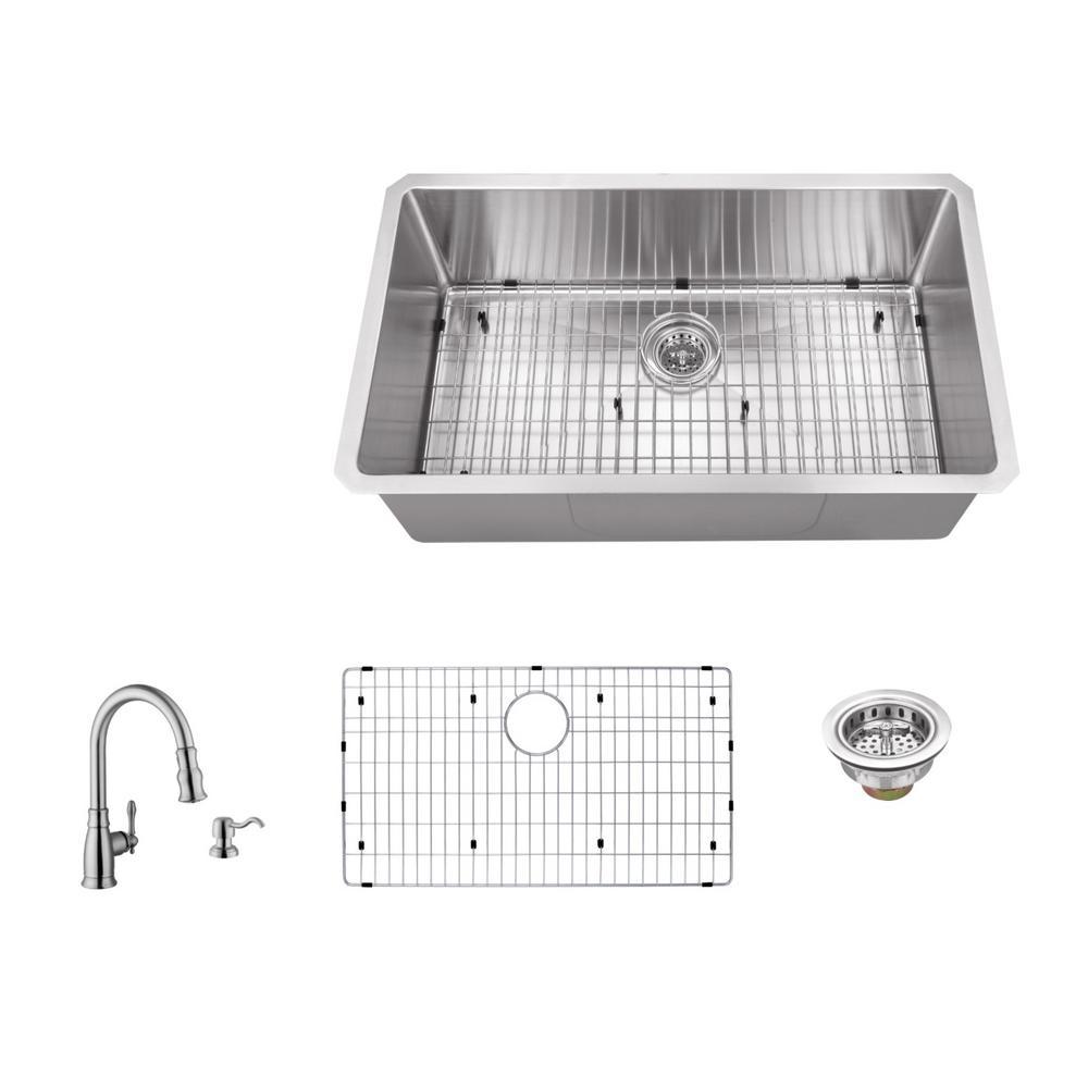 Undermount 32 in 16 gauge stainless steel single bowl kitchen sink 16 gauge stainless steel single bowl kitchen sink in brushed stainless workwithnaturefo