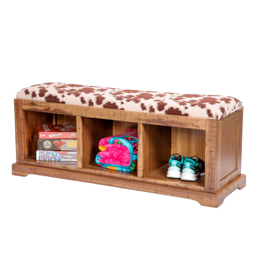 Distressed Toffee Solid Wood Hall Bench with Udder Madness Brown Cow