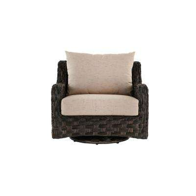 Sunset Point Outdoor Swivel Glider Lounge Chair with Sand Cushions