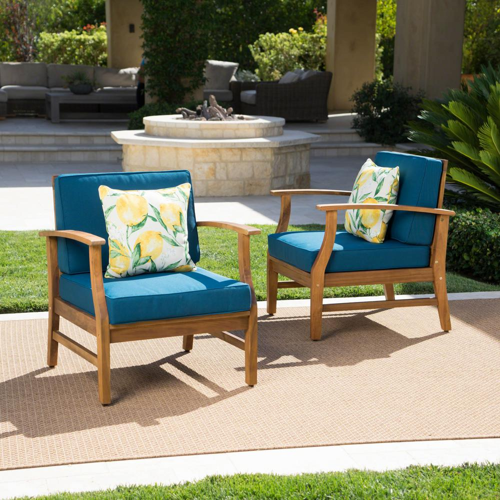 Noble House Perla Teak Finish Wood Outdoor Club Lounge Chairs with Blue Cushions (2-Pack)