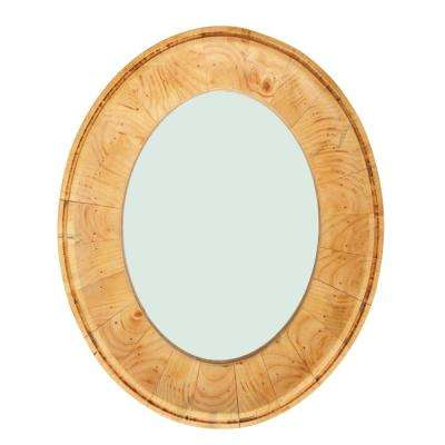 Oval Pine Wood Framed Decorative Wall Mirror