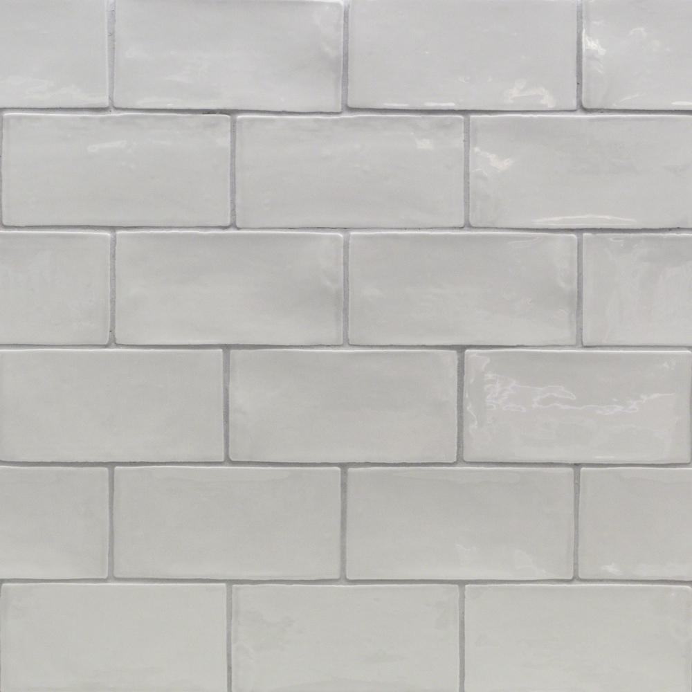 Splashback Tile Catalina White 3 in. x 12 in. x 8 mm Ceramic Wall ...