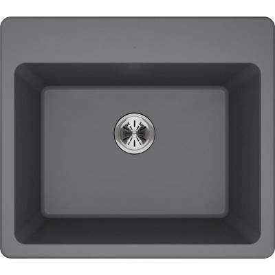 Quartz Classic Perfect Drain Drop-In 25 in. Laundry Sink in Greystone