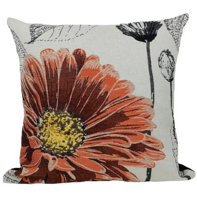 18 in. x 18 in. Coral Flower Embroidery Collection with Feather Filled Pillow
