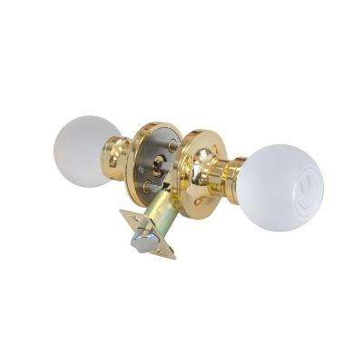 Smiley Face Crystal Brass Privacy Door Knob with LED Mixing Lighting Touch Activated